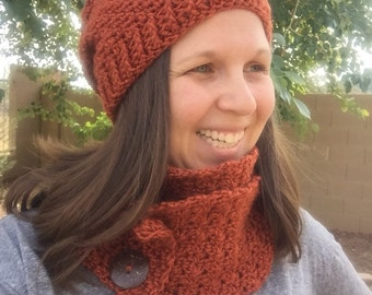 Everly hat and convertible scarf SET, Adult Beanie and scarf set, Adult Toque and scarf set, made to order