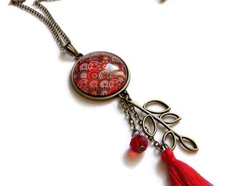 sautoir necklace * hippie chic * style Bohemian trend, red, glass cabochon