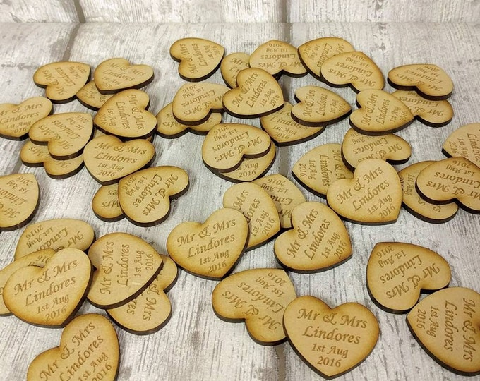 Mdf Heart wedding Favours