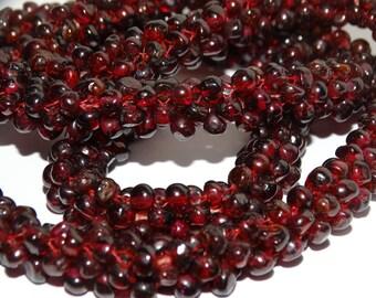 "Garnet Beaded 25"" Long Necklace."