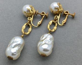 Vintage Miriam Haskell Baroque Pearl Dangle Drop Earrings Mid-Century Signed, Retro Statement Designer Long