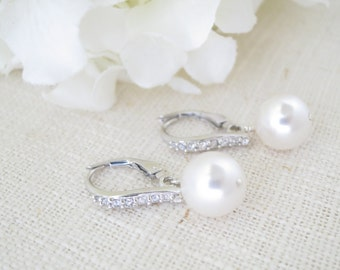 Swarovski 10mm pearl drop earring, Rhinestone and pearl wedding earring, Simple pearl bridal earring