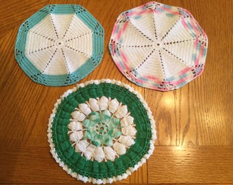 Vintage Hand Crocheted Doilies      Set of 3