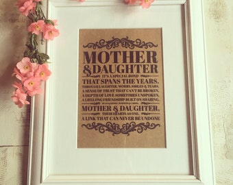 "Mother and Daughter quote mounted in a Beautiful white wooden 8x10"" frame. The perfect Christmas gift for Mum"