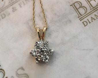 """Vintage 14k yellow & white gold 7 Diamond Flower Cluster Pendant, .65 tw, JK-I1, 18"""""""