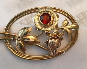 Retro 14k rose and yellow gold Large Open Flower, Leaf and Stem Pin with a Round Bezel Set 6mm Faux Garnet
