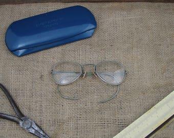 Vintage American Optical Industrial Worker Safety Glasses W/ Steel Case