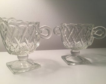 Vintage Clear Glass Sugar Bowl and Creamer with Basket Weave Pattern