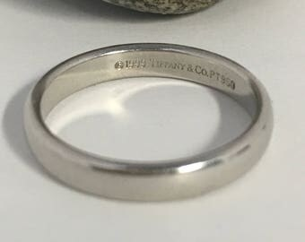 Authentic Tiffany & Co Wedding Platinum Wedding Band,Plain 3.1mm Band ,Ring Size 5 1/2, Tiffany Wedding Band, Tiffany Stackable Ring,