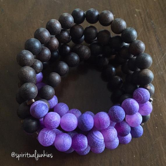 Stackable Mala Inspired Agarwood + Matte Purple Cracked Agate Yoga and Meditation Bracelet (Single Bracelet)