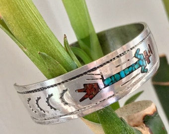 Hopi Sterling Silver Mosiac Stone Inlay Cuff Bracelet - Vintage, Cuff Bracelets, Hopi Stone Inlay Cuff Bracelet, Turquoise Chip, Coral Chip