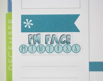 36 PM Face Daily Habit Stickers  | Planner Stickers designed for use with the Erin Condren Life Planner | 0680