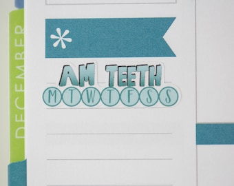 36 AM Teeth Daily Habit Stickers  | Planner Stickers designed for use with the Erin Condren Life Planner | 0684