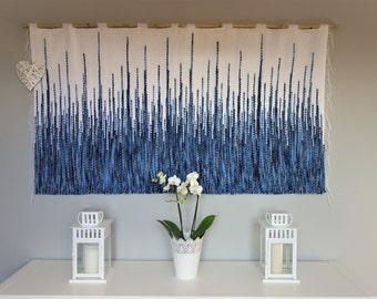 Woven wall hanging, Wall tapestry, housewarming gift, Macrame wall hanging, Woven wall decor, fiber art, white blue tapestry,