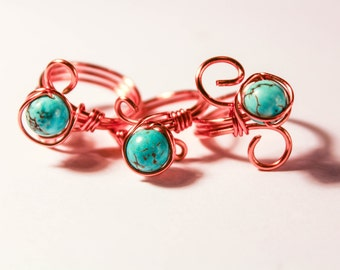 Turquoise Ring, Rose Gold Ring, Wire Wrap Ring, Ring, Infinity, Turquoise, Rose Gold, Statement ring, Turqouise Jewelry, Boho ring, Wire