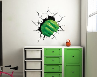 Fist Smash Wall Decal Fist Through The Wall Bedroom Decals Boys Room Vinyl  Superhero Decal Cool