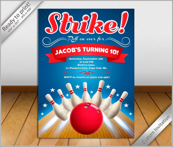 personalized invitation bowling birthday invitation flyer bowling