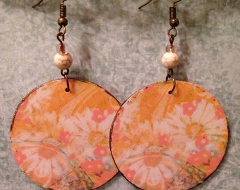 Up-Cycled Floral Earrings, decoupage cereal box, cardboard earrings, spring, boho