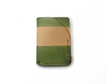Trifold leather wallet in almost green