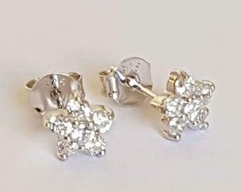 Flower Earrings / Sterling Silver Earrings / Cubic Zirconia AAA