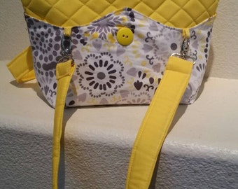 SALE: Quilted Interchangable/reversible YELLOW Hand bag/Purse