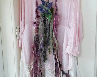 Altered couture dress, boho dress, upcycled recycled  dress  raggs, shabby dress  tattered  fairy  dress