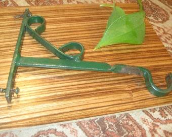 Wrought Iron Plant Hook , Vintage Plant Hook , Green Iron Plant Hook