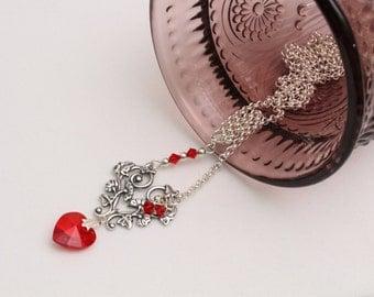 Asymmetric Heart Necklace, Victorian, Silver Chain, Heart Pendant, Anniversary, Birthday, Graduation