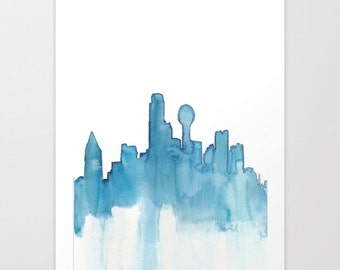 Dallas Skyline Abstract Watercolor Frameable Artwork - Giclee Print