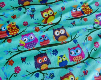 Fun Owl Print, cotton fabric