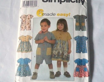 1997 Sewing Pattern, Simplicity 7617, Toddler's Romper, Child's Dress, 6 Made Easy, Simple To Follow, Complete Instructions