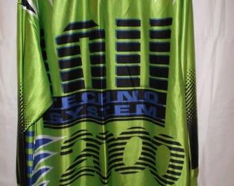 Vintage Clubwear TECHNO SYSTEM 2000 long sleeved T-shirt silky iridescent green XL biker shirt