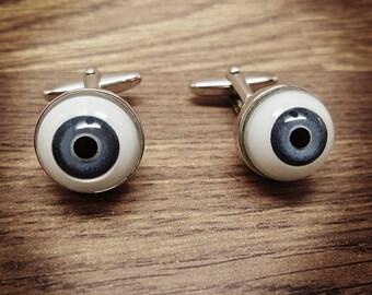 Eyeball cufflinks Halloween Human Eyeball cufflinks with blue iris glass eyeball Horror cufflinks silver plated