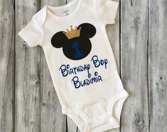 Boys mickey mouse first birthday, prince mickey birthday, Personalized mickey mouse shirt, Mickey mouse, royal blue gold mickey birthday