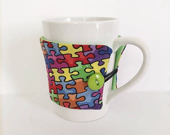 Autism Awareness Coffee Cup Cozy, Support Autism Cup Cozy, Coffee Mug Cozy, Coffee Cup Holder, Mug Sleeve, Teacher Gift