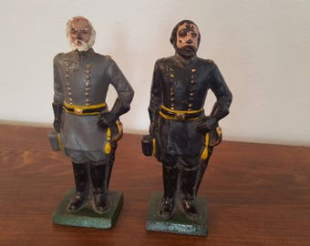 Cast Iron Bookends - General Lee and General Grant
