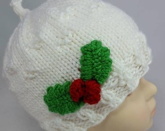 Christmas Hat with Holly - Holly Berry Hat - Baby Christmas Hat - Holly Christmas Hat - Gifts for Baby - Cute Baby Hats - Christmas Baby Hat