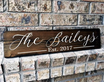 Family Name Established Sign | Personalized Sign | Custom Name Sign | Last name sign | Family Established Signs | Personalized wedding gifts