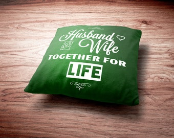 Husband and Wife Throw Pillow -Husband and Wife Together For Life Throw Pillow