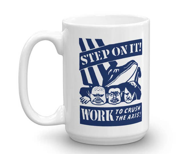 Step On It! Work To Crush The Axis WWII Vintage Matchbook Mug