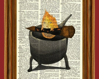 Calcifer from Howl's Moving Castle Upcycled Dictionary Art Print Poster