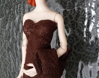 Mink Trimmed Bolero With Matching Full Length Gown for Evangeline Ghastly Dolls