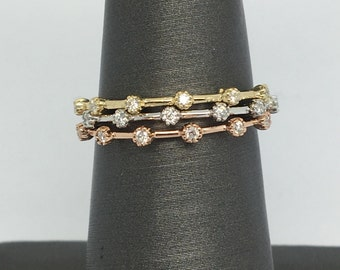 14K Yellow Gold or White Gold or Rose Gold Diamond Stackable Ring