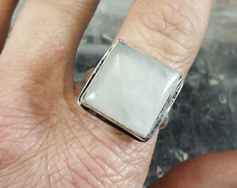 Rainbow Moonstone Ring - Size 8.75