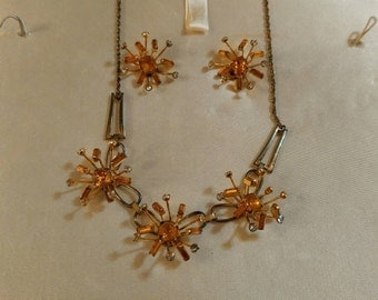 Vintage Sperry Atomic Mid Century Modern Rhinestone Costume Jewelry Necklace and Earrings Set in Original Box