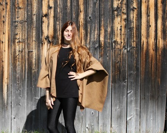 Red, yellow, Khaki and beige poncho