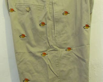 Men's EMBROIDERED Vintage 90's,Tan Flat front KHAKI Shorts Tailored By Ruff Hewn.33