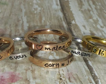 Hand stamped, Stackable Rings, Stack rings, Monogramming, Name RINGS, Chocolate, Gold, Silver, Rose Gold, Stainless steel rings sizes 3 up