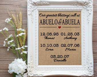 Abuelo and Abuela Gift, Gift for Abuelo and Abuela, Abuela Gift, Gift for Spanish Grandparents, Spanish Grandma Gift, Mothers Day, Gift Mom