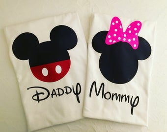 Set of Mommy and daddy shirts - Minnie and mickey mouse shirts- minnie and mickey mouse family shirts